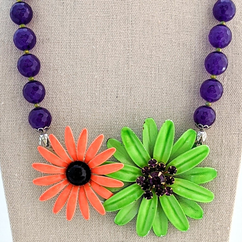 Purple and Orange Vintage Halloween Collage Necklace