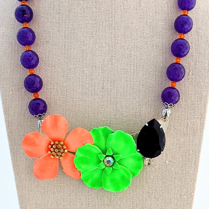 Bright Purple and Orange Vintage Halloween Collage Necklace