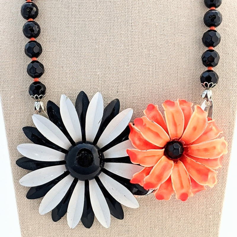 Vintage Black & White Rhinestone Halloween Collage Necklace