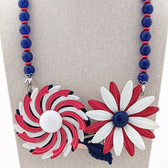Red, White, & Blue Vintage Flower Collage Necklace