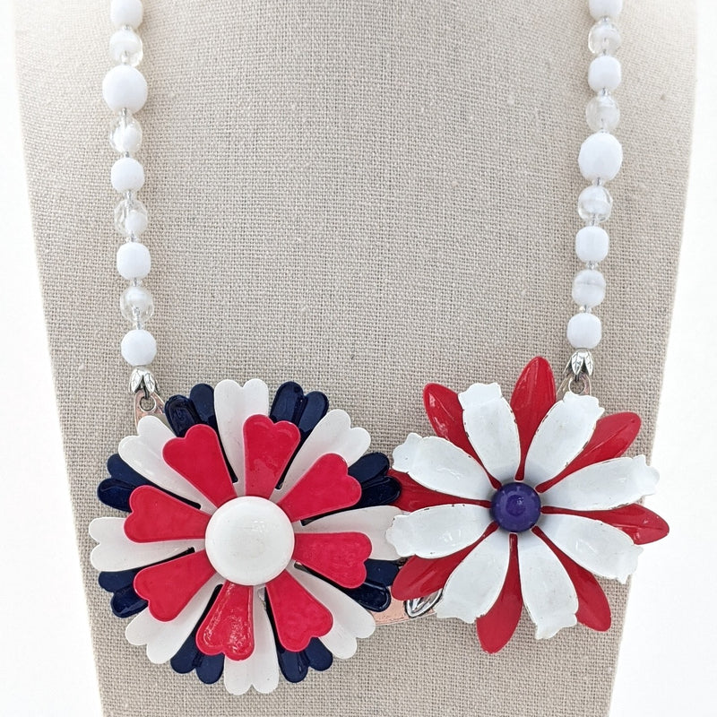 Vintage Americana Flower Collage Necklace