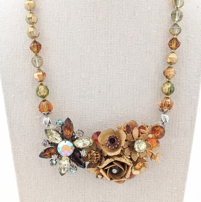 Vintage Amber Fall Flower Collage Necklace