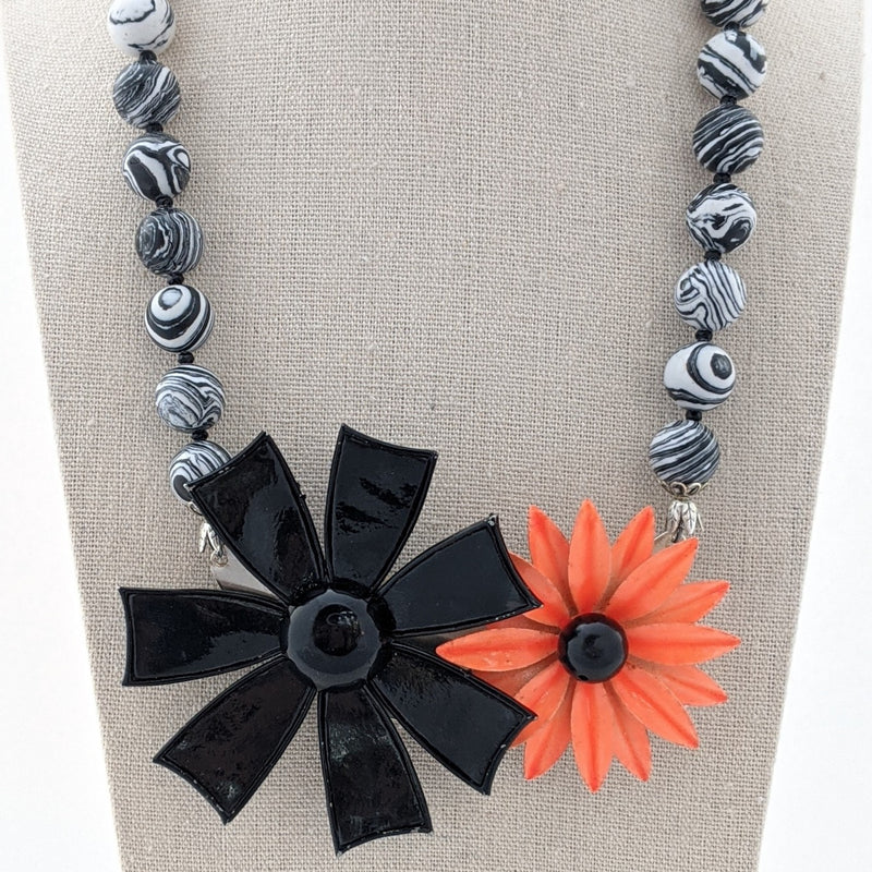 Black and Orange Halloween Flower Collage Necklace