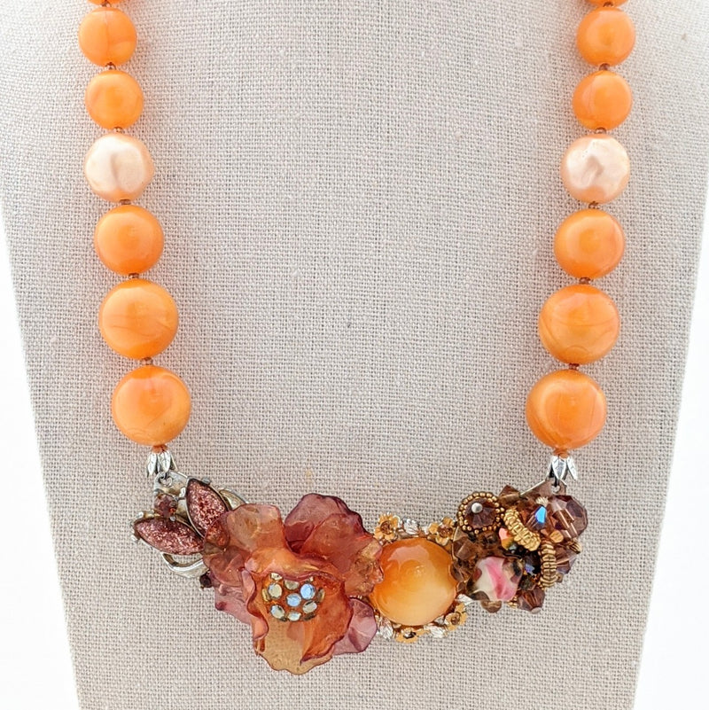 Amber and Peach Vintage Flower Collage Necklace
