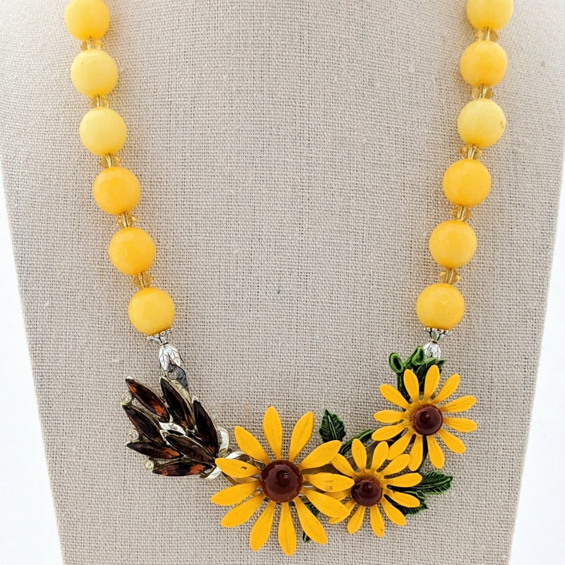 Vintage Fall Sunflower Collage Necklace
