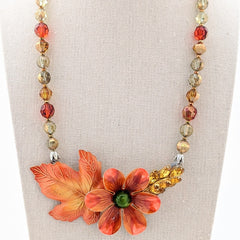 Fall Foliage Vintage Flower Collage Necklace