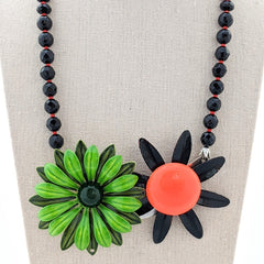 Vintage Orange & Green Halloween Flower Collage Necklace