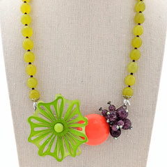 Vintage Brights Halloween Flower Collage Necklace