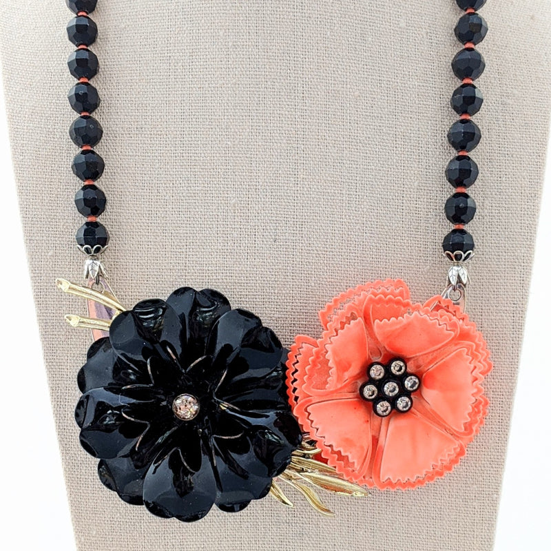 Vintage Orange & Black Halloween Flower Collage Necklace