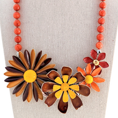 Fall Fantasy Vintage Flower Collage Necklace