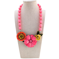 Raspberry Delight Vintage Flower Collage Necklace