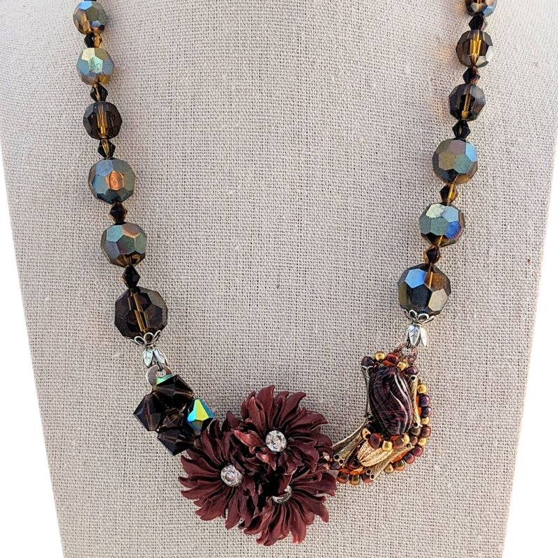 Amber Spice Vintage Flower Collage Necklace