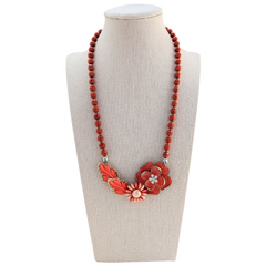 Coral Pansies Vintage Flower Collage Necklace