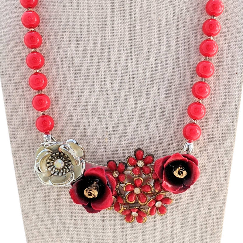 Rose Red Vintage Flower Collage Necklace