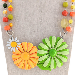 Autumn Daisies Vintage Flower Collage Necklace