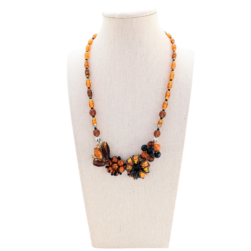 Amber Glass Vintage Flower Collage Necklace