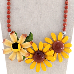 Bold Sunflowers Vintage Flower Collage Necklace