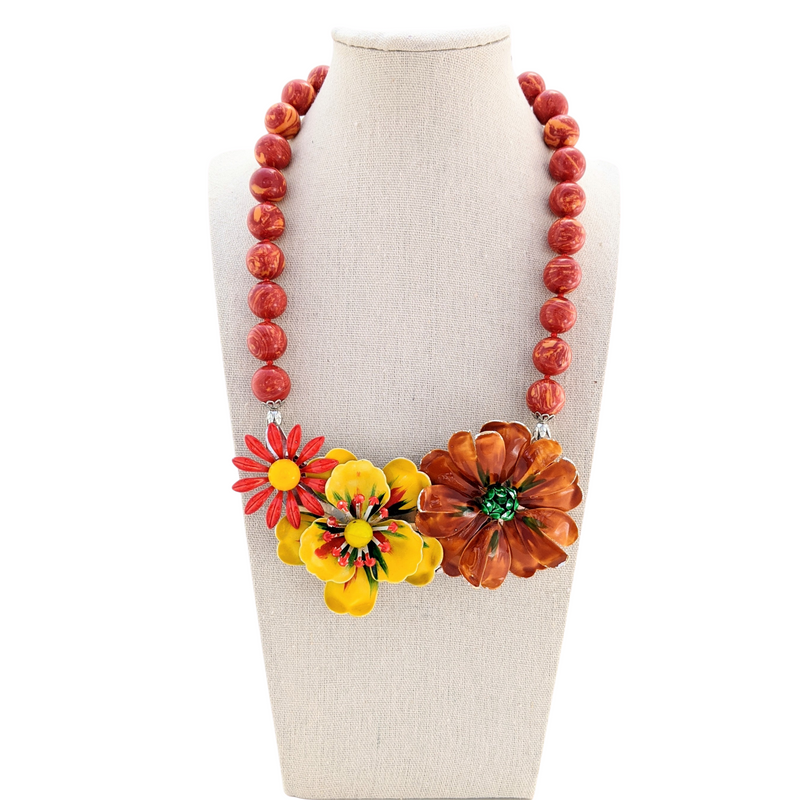 Spicy Blooms Vintage Flower Collage Necklace