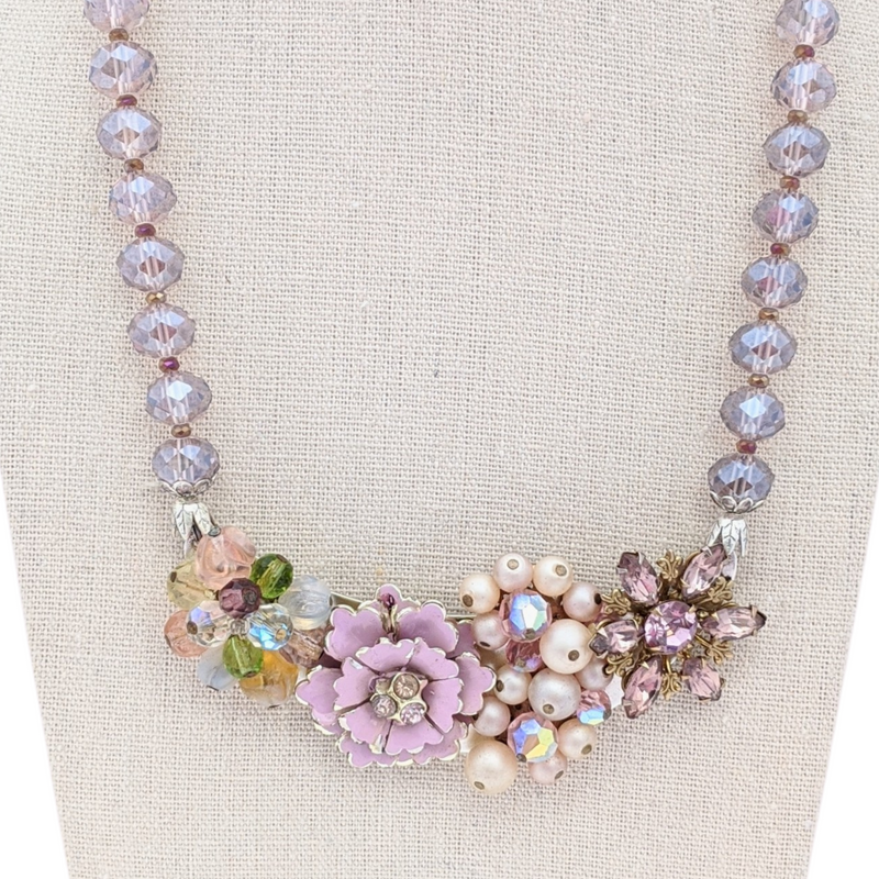 Lilac Flowers Vintage Flower Collage Necklace