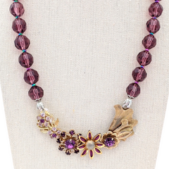 Amethyst &  Gold Flowers Vintage Flower Collage Necklace
