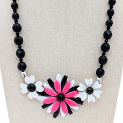 Pink & Black Vintage Daisy Flower Collage Necklace