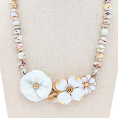Winter Whites Vintage Flower Collage Necklace
