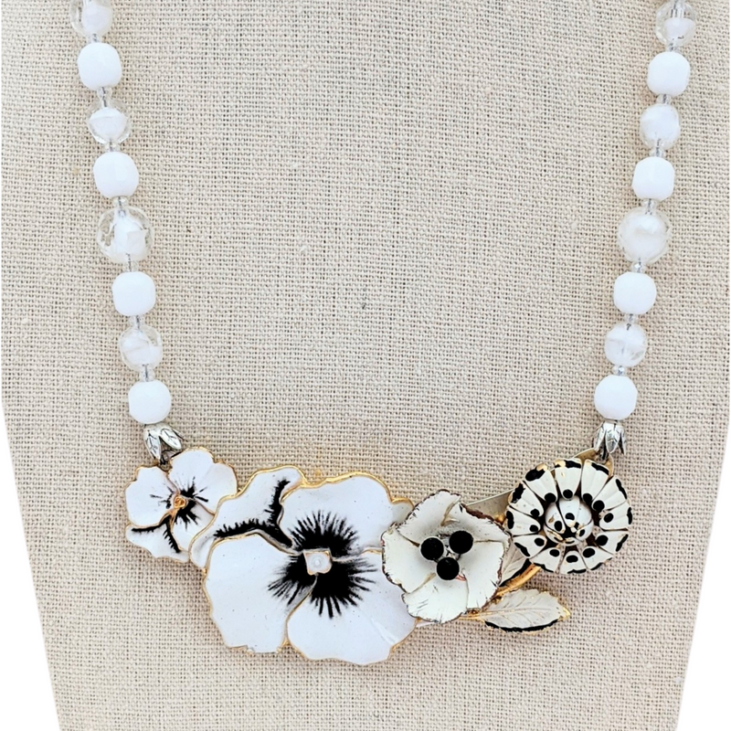 Black and White Pansy Vintage Flower Collage Necklace