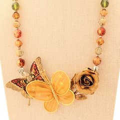Autumn Butterflies Vintage Flower Collage Necklace