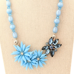 Sky Blue Featherweight Vintage Flower Collage Necklace