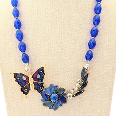 Blue Butterflies Vintage Flower Collage Necklace