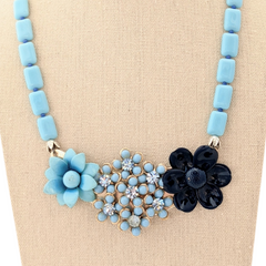 Blue Daisies Vintage Flower Collage Necklace