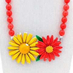 Juicy Citrus Vintage Flower Collage Necklace