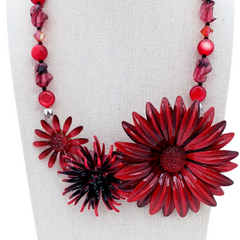 Black Cherry Vintage Flower Collage Necklace