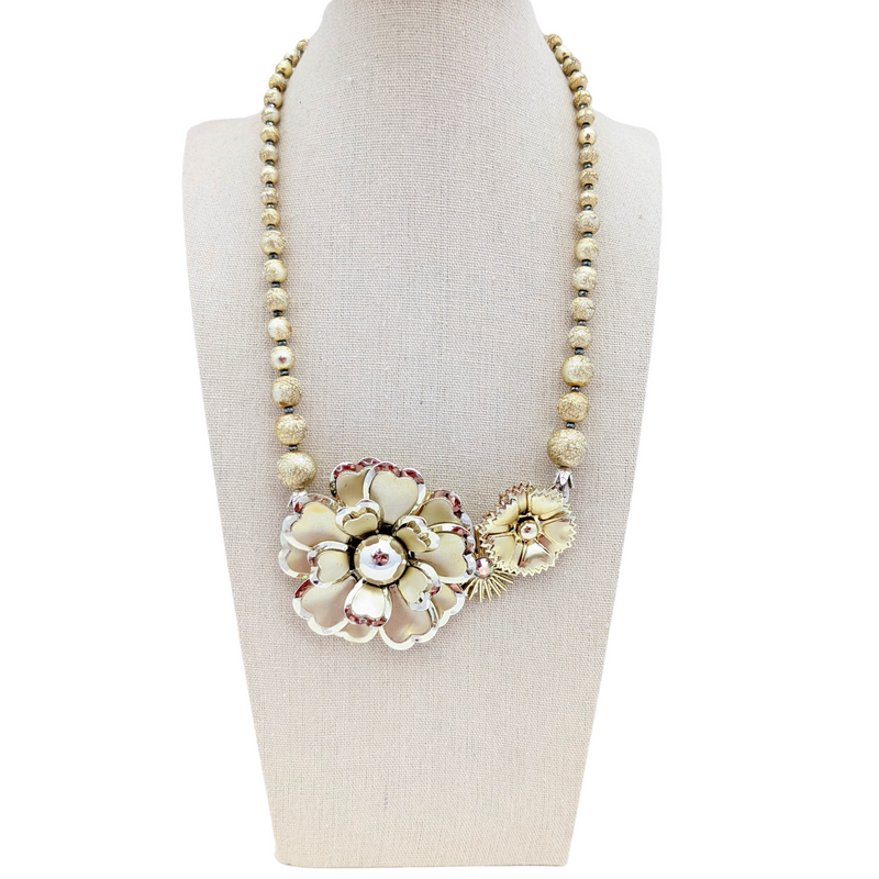 Bright Gold Vintage Flower Collage Necklace