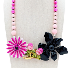 Purple Thistle  Flower Collage Necklace