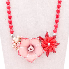 Reds & Pinks Vintage Flower Collage Necklace