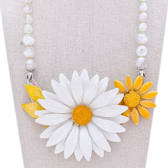 Flower Power Vintage Flower Collage Necklace