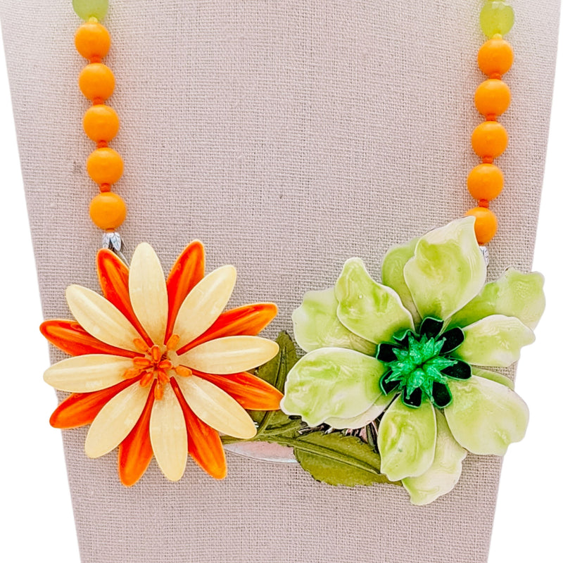 Spring Sherbet Vintage Flower Collage Necklace