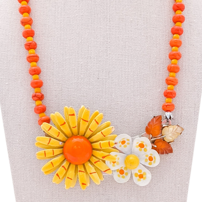 Sunny Orange Vintage Flower Collage Necklace