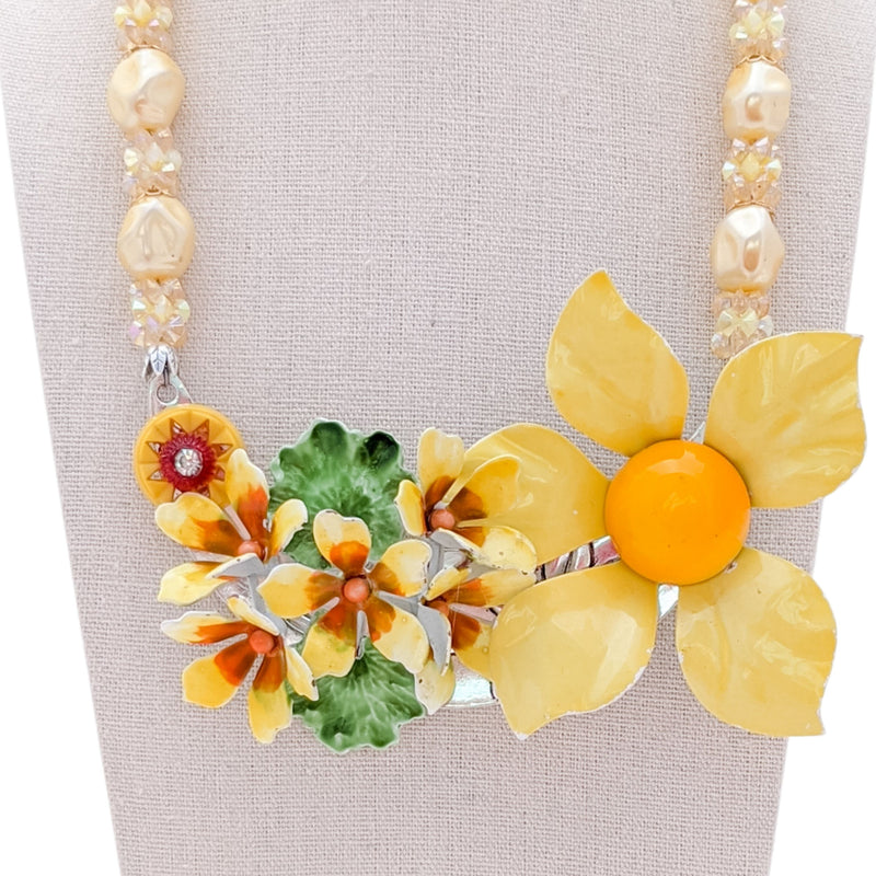 Jonquil Dreams Vintage Flower Collage Necklace