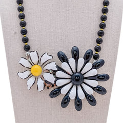 Mod Flower Power Vintage Flower Collage Necklace