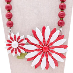 Candy Stripe Vintage Flower Collage Necklace