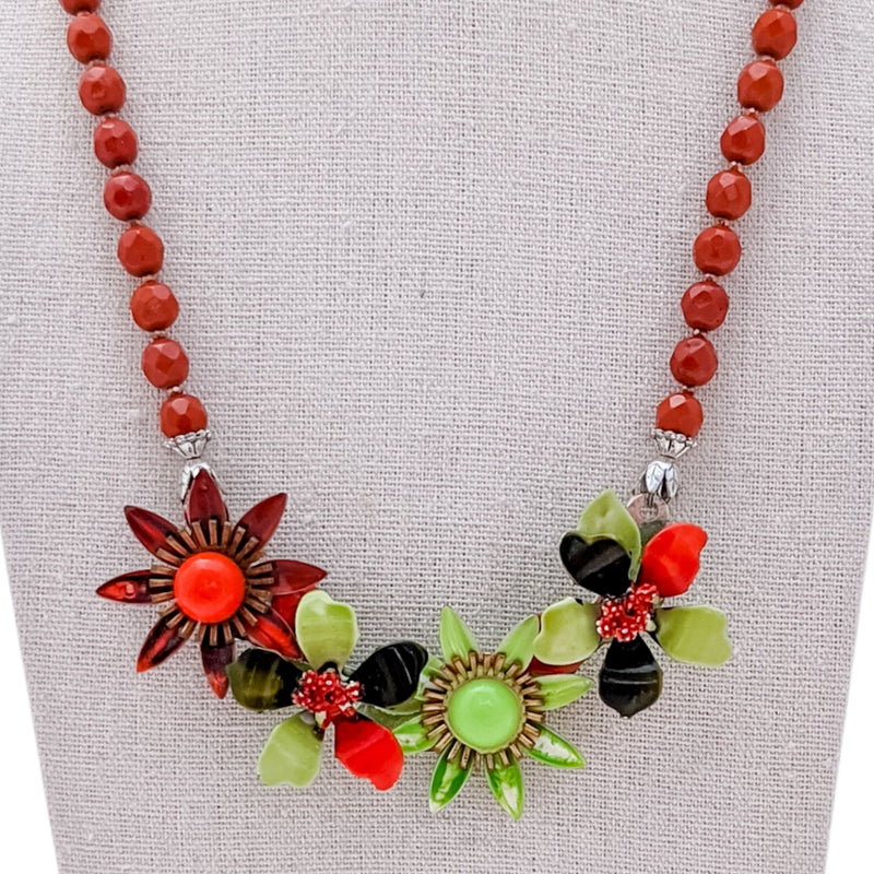 Autumn Leaves Flower Collage Necklace