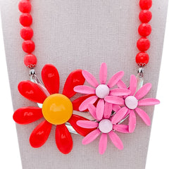 Fruit Punch Flower Collage Necklace