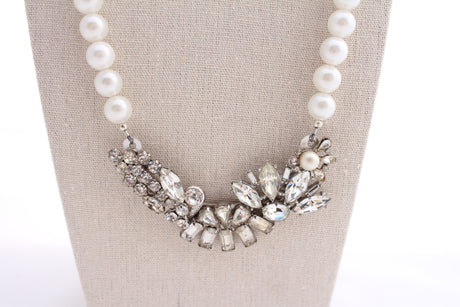 Rhinestone and pearl statement necklace