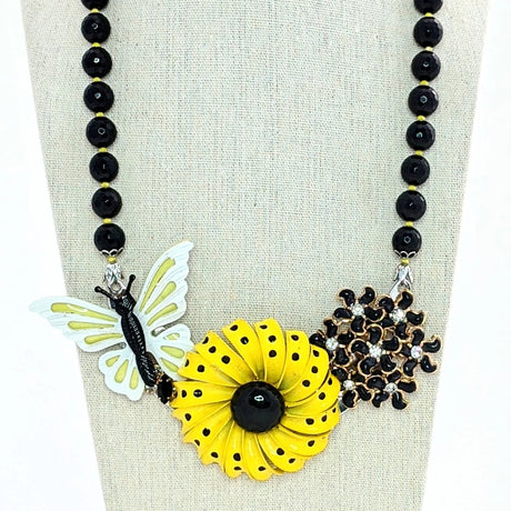Black and Yellow Butterfly Flower Collage Necklace (Collage 102)