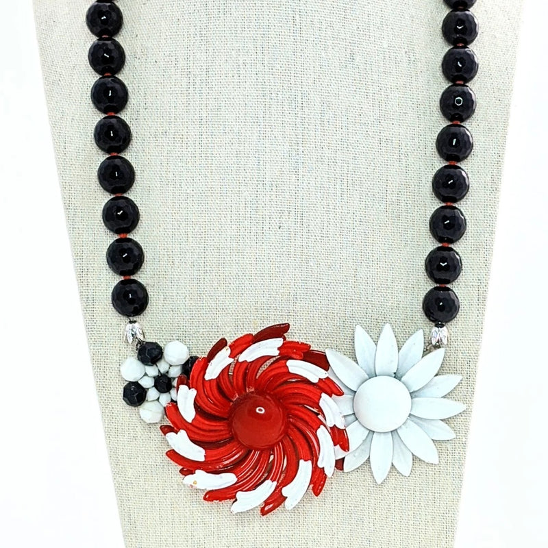 black, red, and white statement necklace
