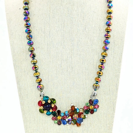 carnival glass statement necklace