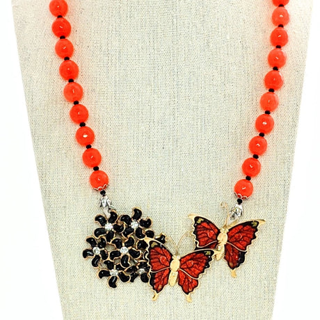 red and black butterfly necklace