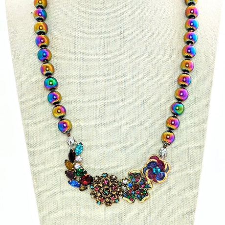 rainbow plated hematite beaded necklace